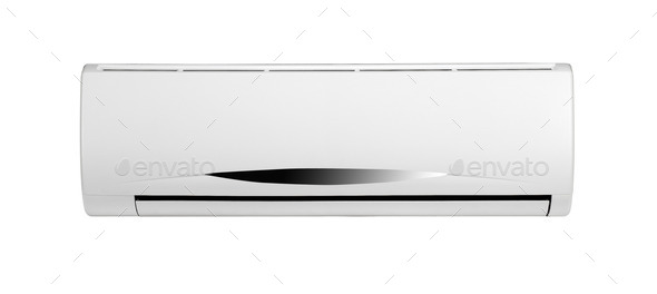 white air conditioner - Stock Photo - Images