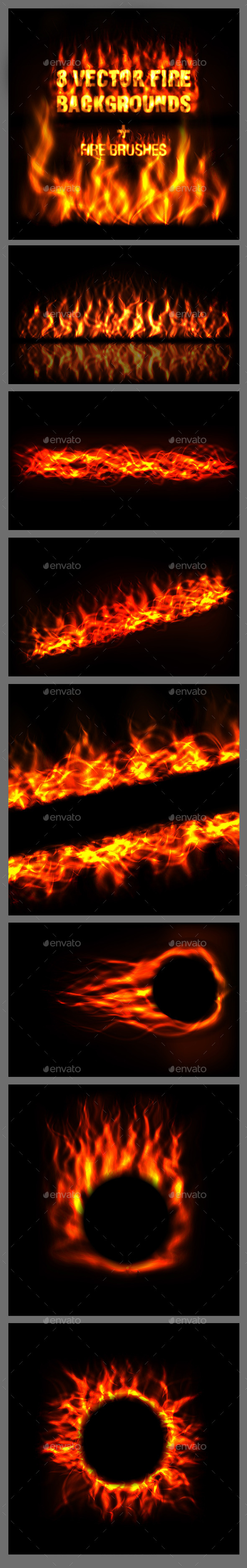 Vector Fire Backgrounds - Organic Objects Objects