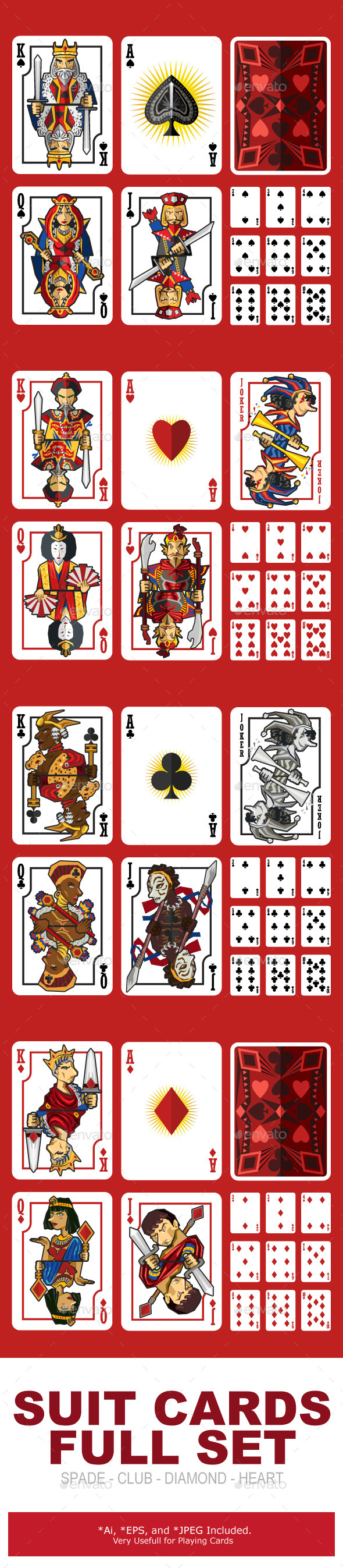 Suit Playing Cards Full Set - Sports/Activity Conceptual
