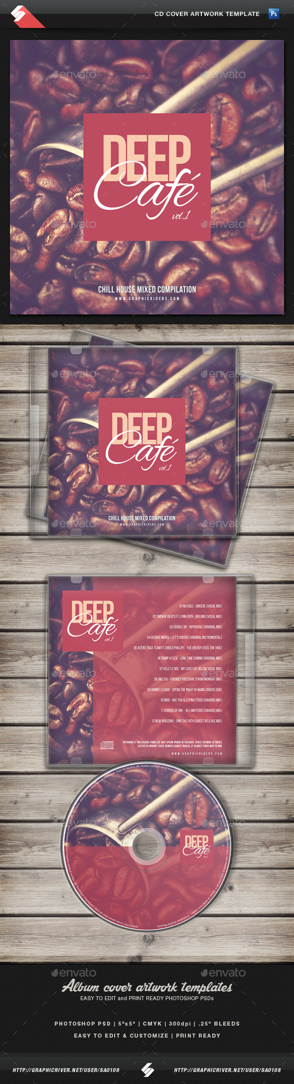 Deep Cafe vol1 CD Cover Artwork Template