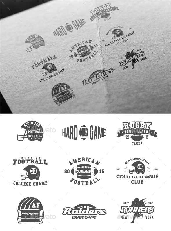 Sports American Football Badges - Badges & Stickers Web Elements