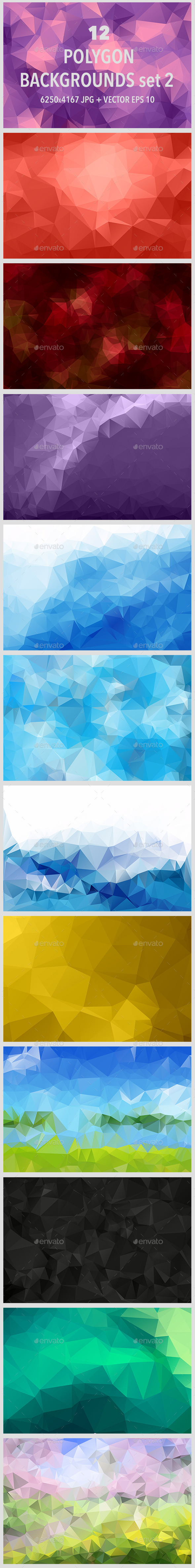 12 Polygonal Backgrounds Set 2 - Abstract Backgrounds