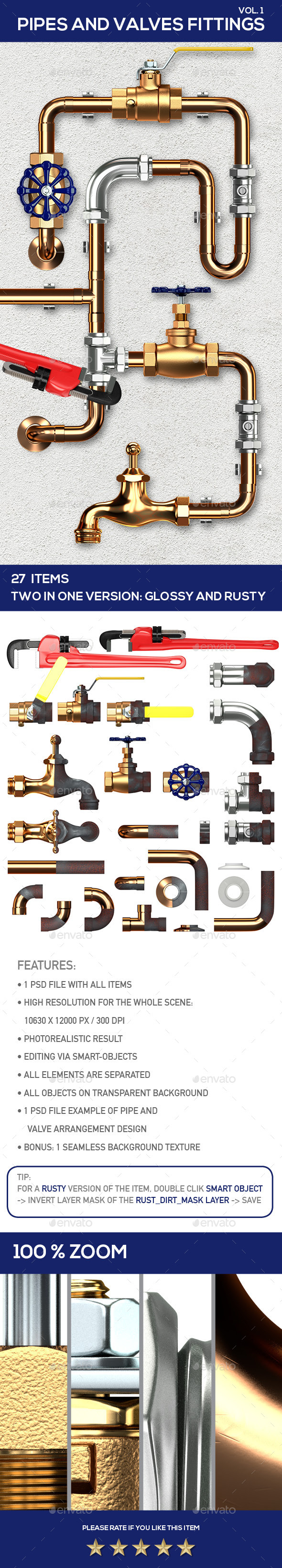 Pipes and Valves Fittings V1 - Miscellaneous 3D Renders