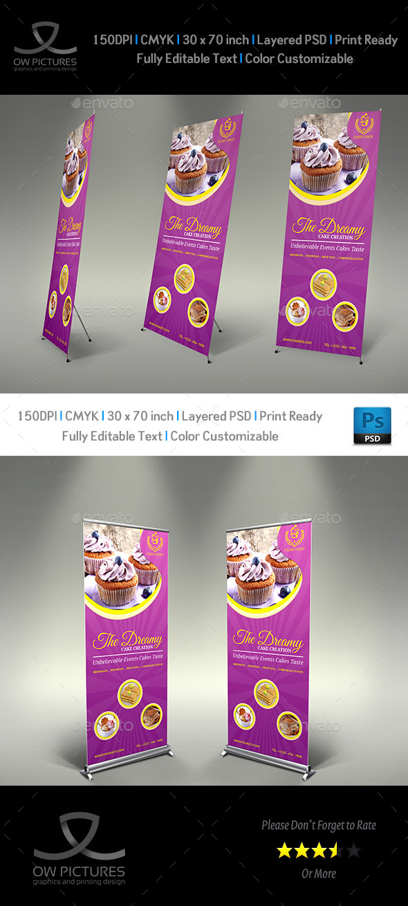 Cake Signage Rollup Banner Template Vol.4 - Signage Print Templates