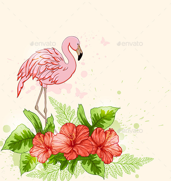 Red Flowers and Pink Flamingo