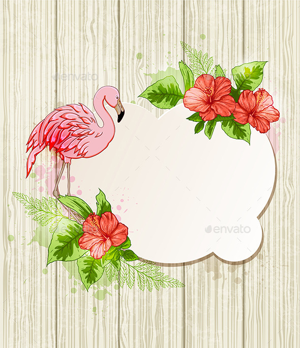 Tropical Flowers and Pink Flamingo - Animals Characters
