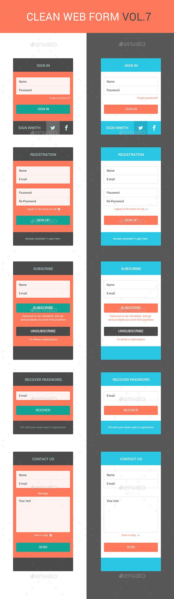 Clean web forms vol.7 - Forms Web Elements
