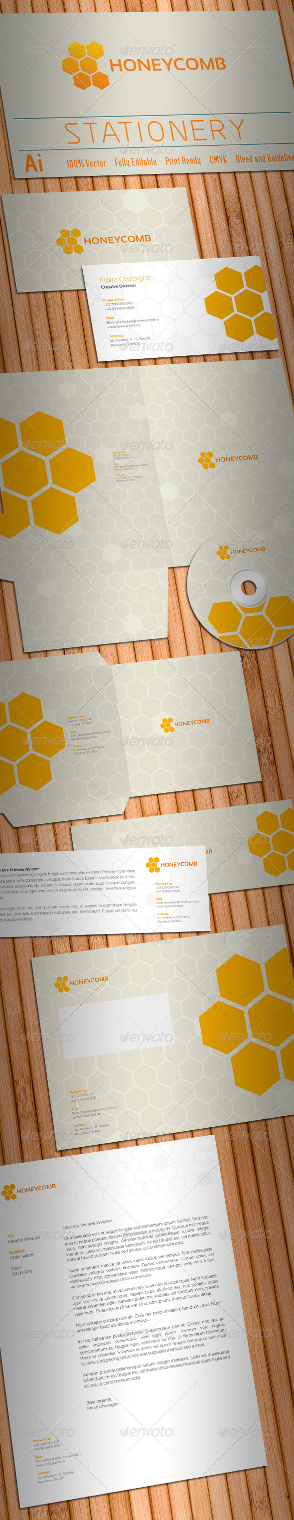 Honeycomb Stationery - Stationery Print Templates