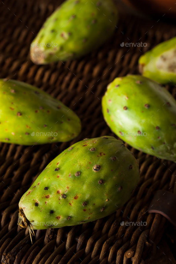 Raw Organic Green Cactus Pears - Stock Photo - Images