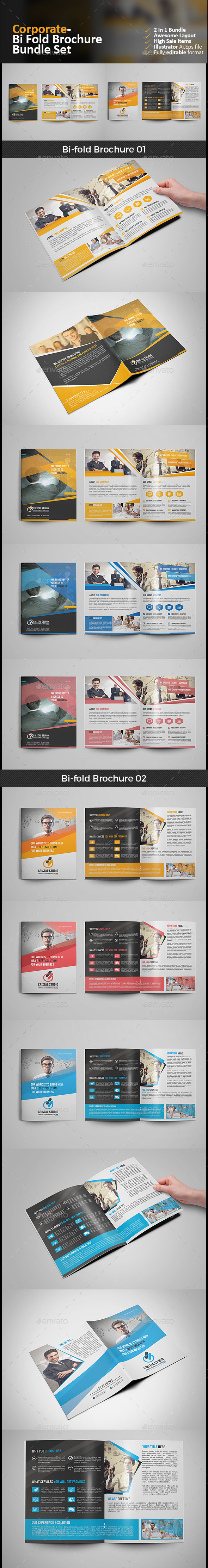Bi Fold Brochure Bundle 2 in 1 - Corporate Brochures