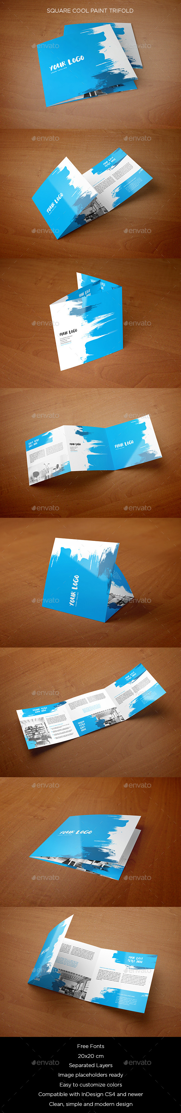 Square Cool Paint Trifold - Brochures Print Templates