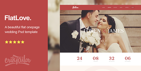 FlatLove – Flat Onepage Wedding Psd Template