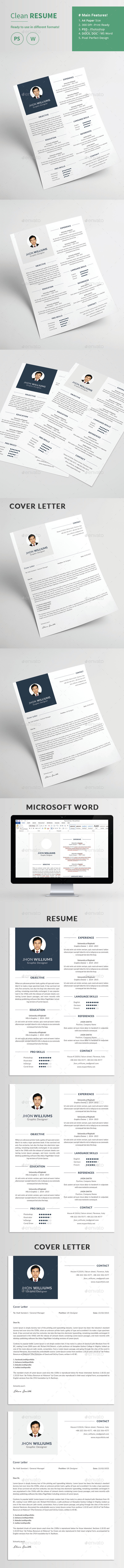 Clean Resume and Cover Letter - Resumes Stationery