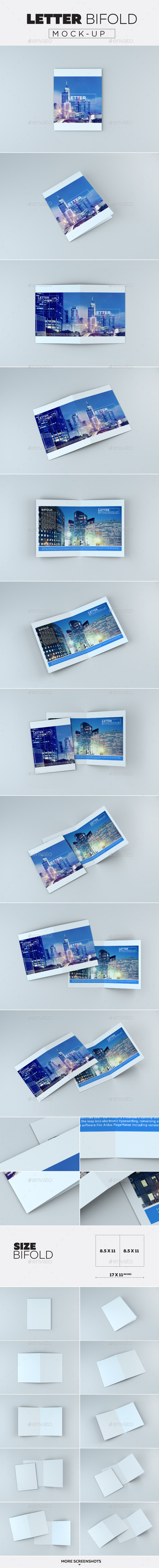 Letter Bifold Mock-Up - Product Mock-Ups Graphics