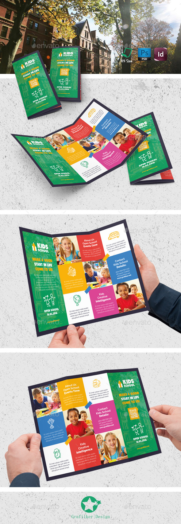 Kids School Tri-Fold Templates