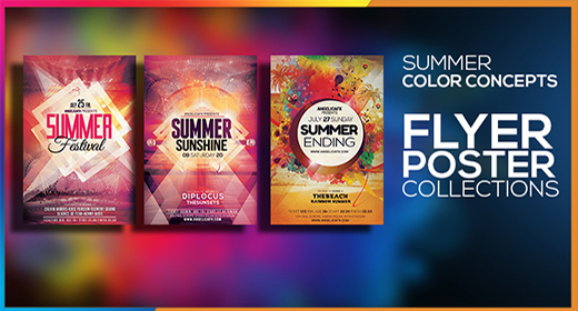 SUMMER COLORFUL CONCEPTS FLYER POSTER
