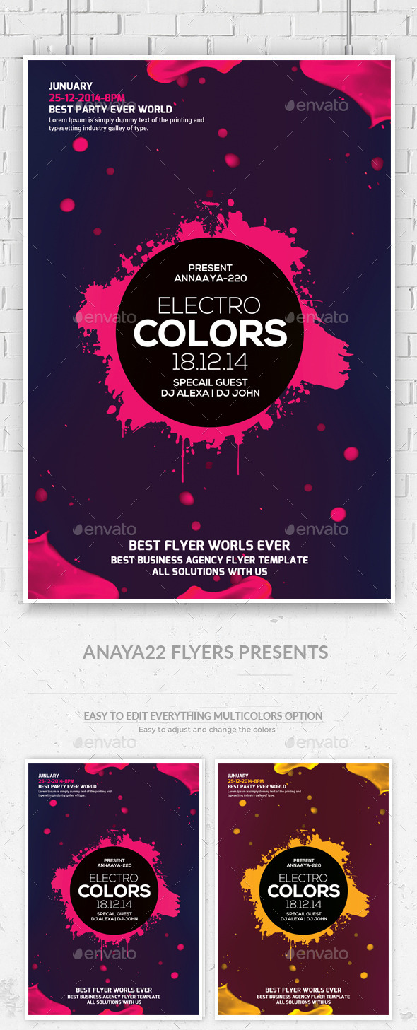 Electro Colors Flyer Templates - Clubs & Parties Events