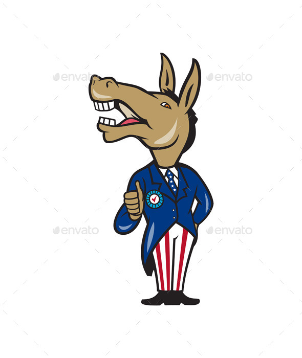 Democrat Donkey Mascot Thumbs Up Cartoon