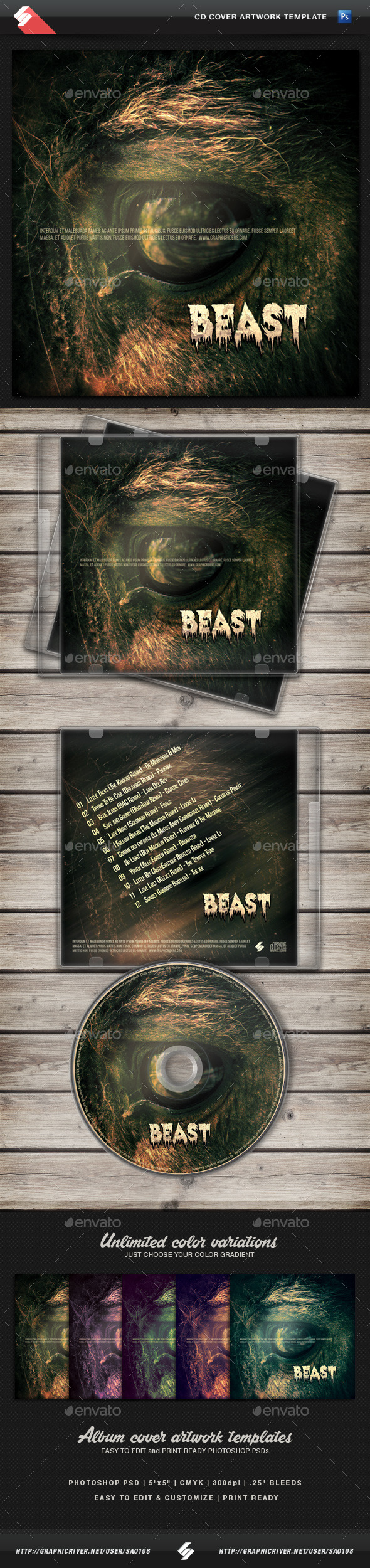 The Beast - CD Cover Artwork Template - CD & DVD Artwork Print Templates