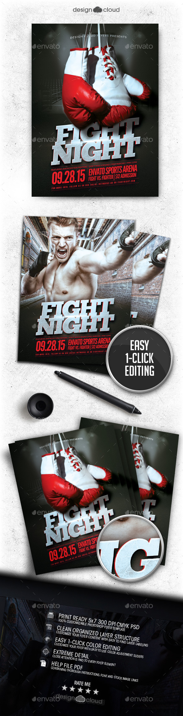 Boxing/MMA Fight Night Flyer Template - Sports Events