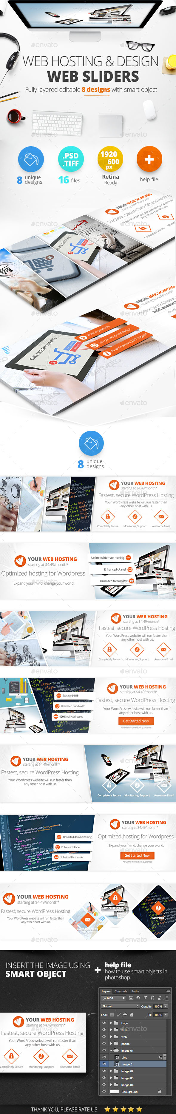 Web Hosting & Design Web Sliders 8 Designs - Sliders & Features Web Elements