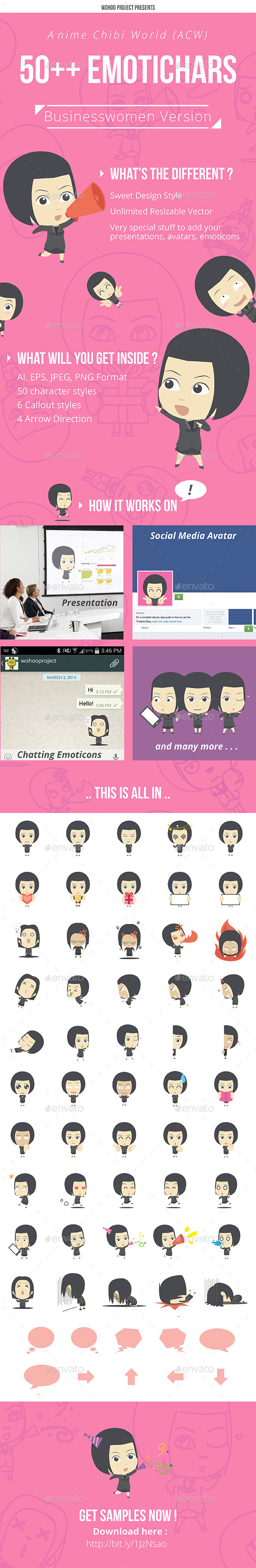 50+ Emotichars Businesswomen Version - People Characters