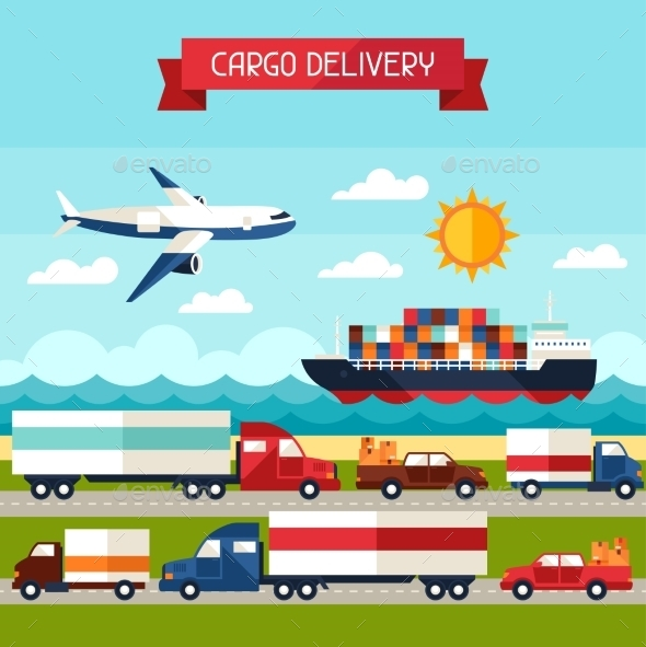 Freight Cargo Transport Background in Flat Design - Industries Business