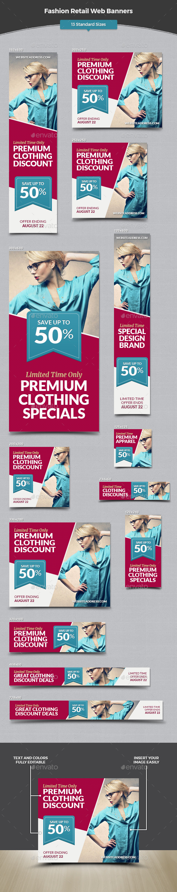 Fashion Retail Web Banners - Banners & Ads Web Elements
