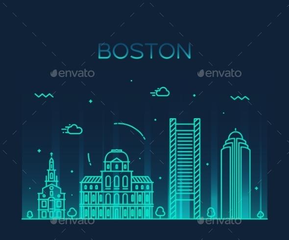 Boston Skyline  - Landscapes Nature