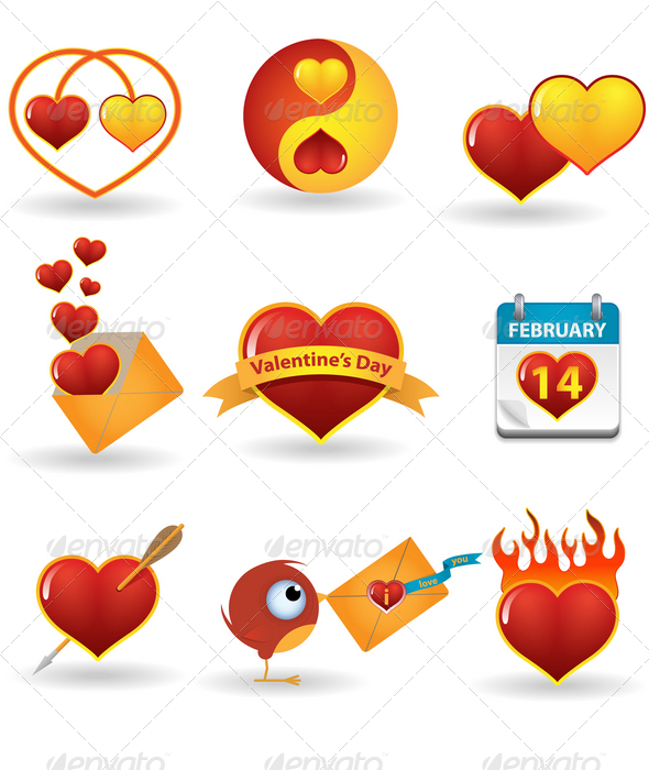 Valentine's day icon set - Seasons/Holidays Conceptual