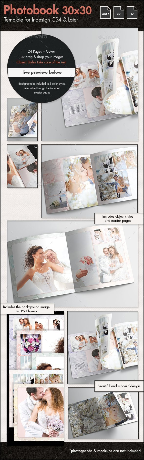 Photobook Wedding Album Template - 30x30cm by sthalassinos ...