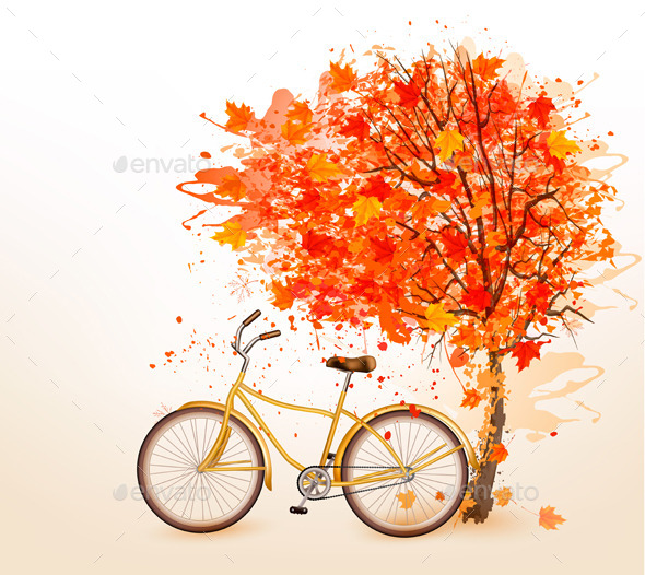 Autumn Tree Background with a Yellow Bicycle - Seasons Nature
