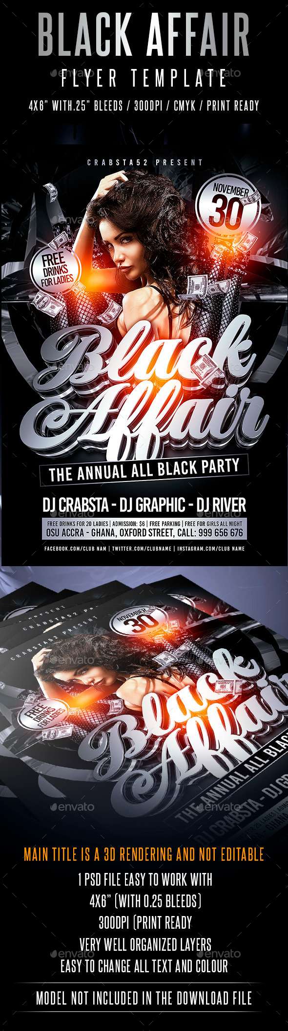 Black Affair Flyer Template  - Events Flyers