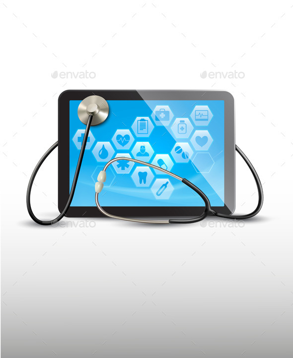 Tablet with Medical Icons and a Stethoscope