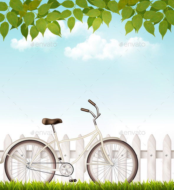 Bicycle in Front of Fence - Seasons Nature