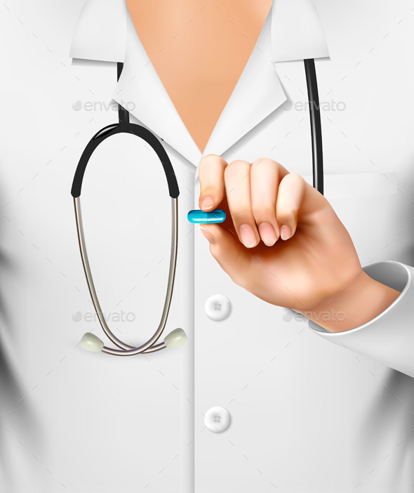 Doctor with a Stethoscope Holding a Pill - Health/Medicine Conceptual