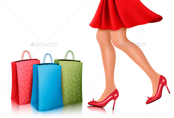 Shopping Woman Wearing Red Dress and High Heels  - Retail Commercial / Shopping