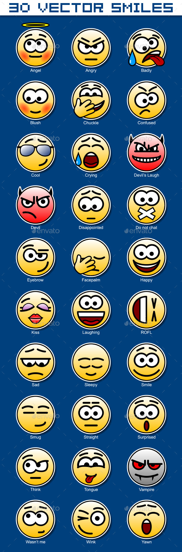 Set of 30 Circular Yellow Smiles - Miscellaneous Characters