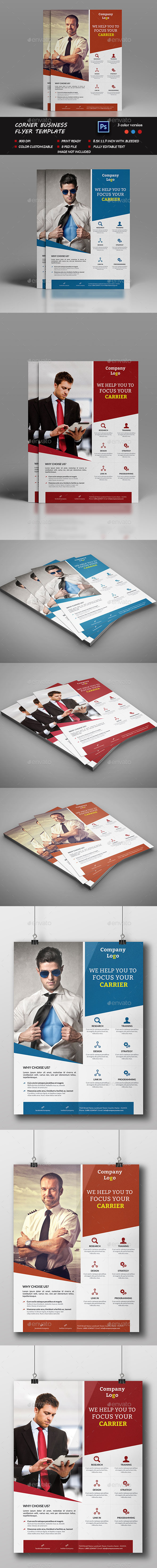 Corner business Flyer Template - Flyers Print Templates