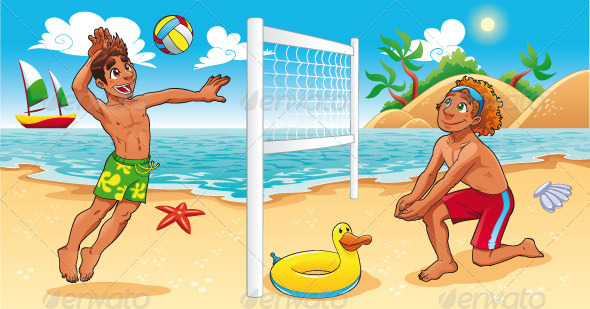 Beach Volley scene.  - Sports/Activity Conceptual