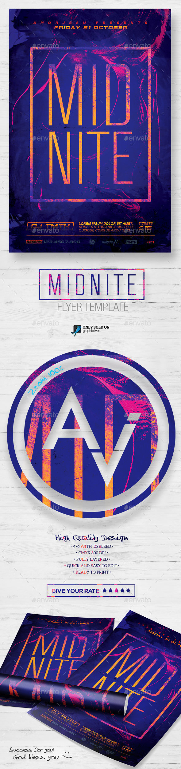 Midnite Flyer Template - Clubs & Parties Events