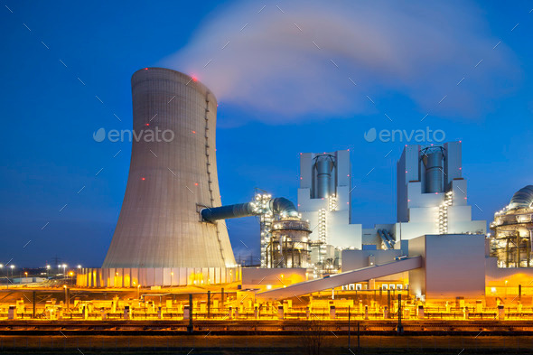 Steaming Power Station At Night - Stock Photo - Images