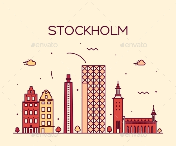 Stockholm Skyline - Buildings Objects