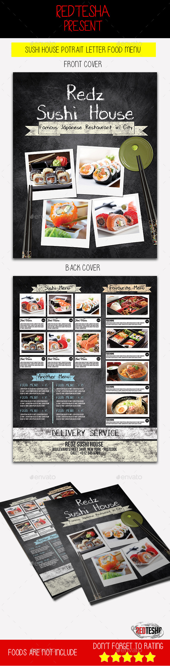 Steak House Potrait Menu - Food Menus Print Templates