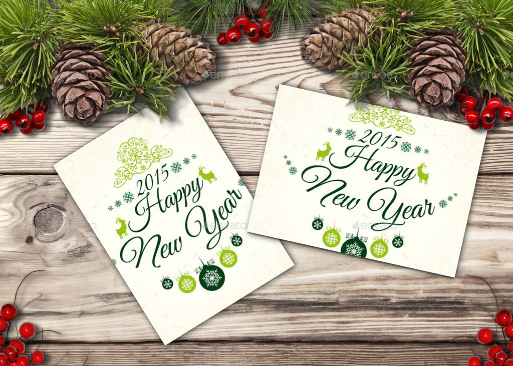 Happy New Year Cards And Invites Mockup Maker by oloreon | GraphicRiver