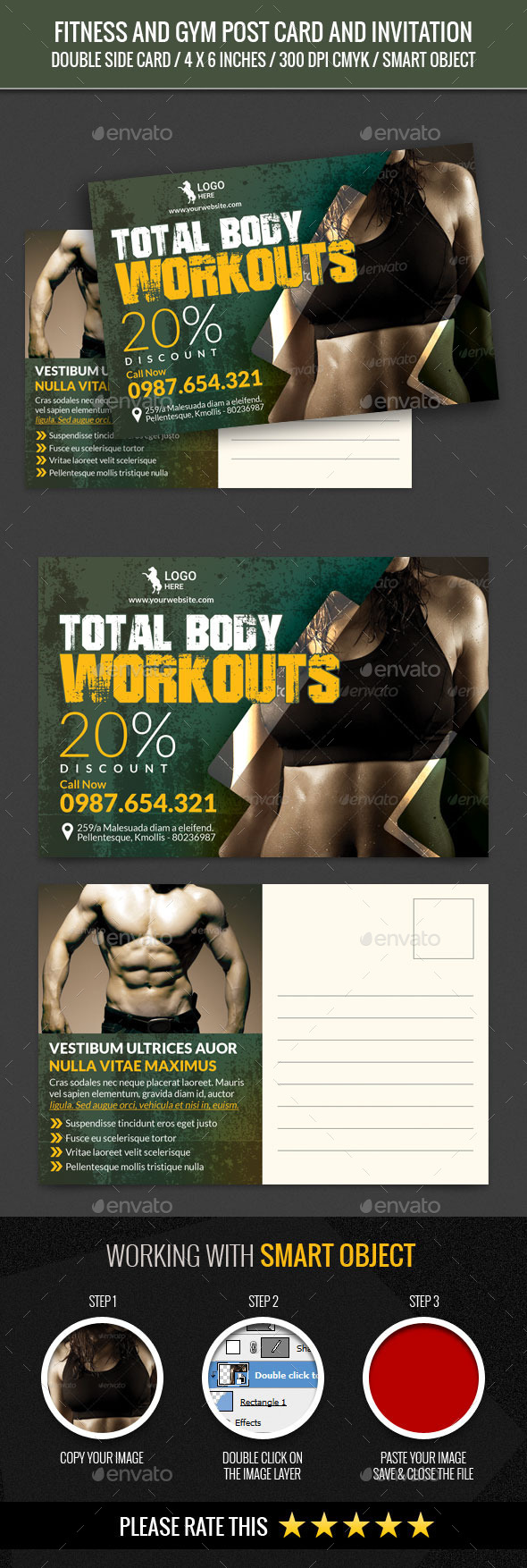 Fitness and GYM Post Card Template - Cards & Invites Print Templates