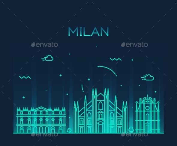 Milan Skyline - Buildings Objects