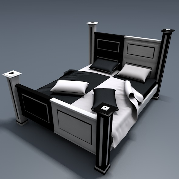 Wooden Bed Black & White Style - 3DOcean Item for Sale
