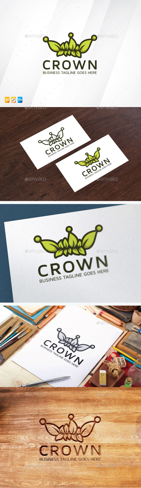 Green Crown Logo - Vector Abstract