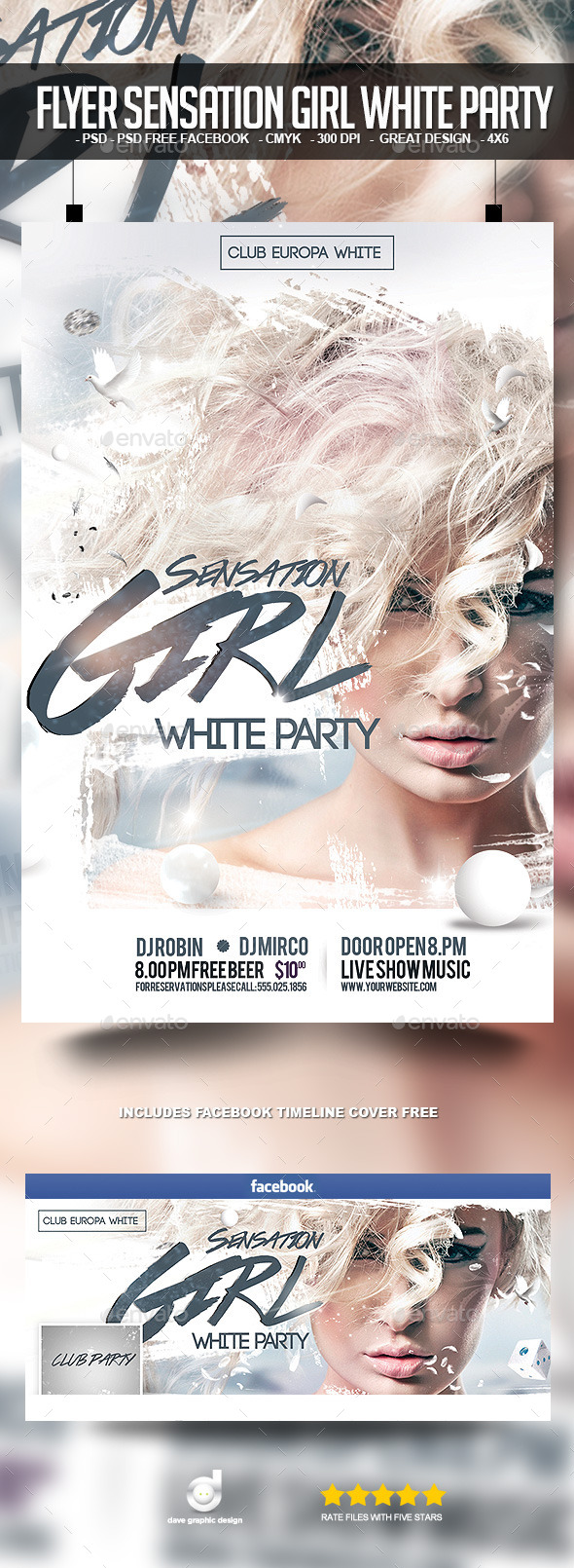Flyer Sensation Girl White Party - Clubs & Parties Events